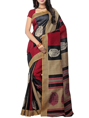 multi colored art silk bhagalpuri saree with blouse