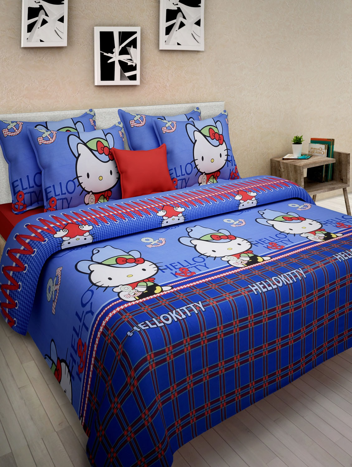 Hello kitty bedsheet blue -  Hello Kitty Blue Cotton Kids Double Bedsheet Set Tn2 Explore This Look Hover Over Image To Zoom