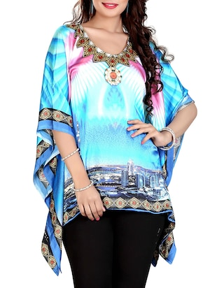 blue printed satin kaftan