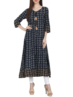 blue cotton block printed long kurta