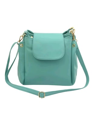 Green Leatherette Sling Bag Online Ping For Bags