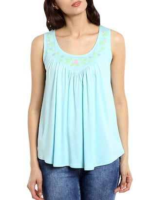 light blue embroidered viscose top