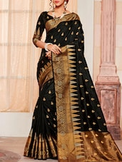 black raw silk woven saree -  online shopping for Sarees
