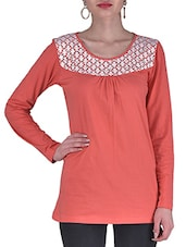 Orange And White Knitted Cotton Laced Top - By