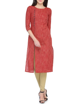 red khadi self design straight kurta