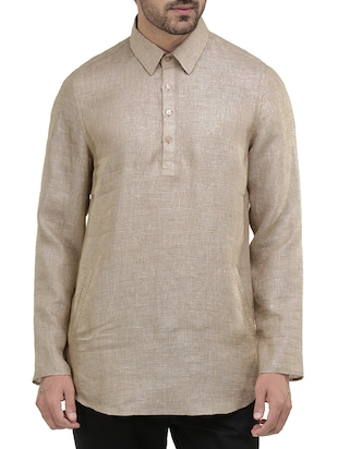 solid neutral cotton kurta