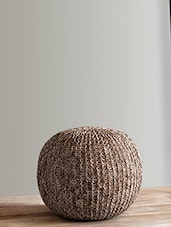 Beige And White Knitted Cotton Pouf - By