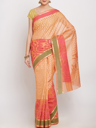 beige cotton blend banarasi saree