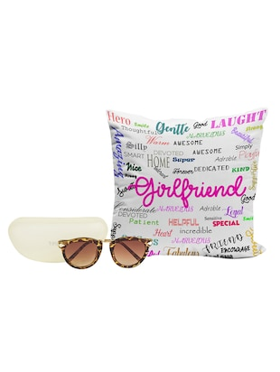 LOF Girls Gifts For Girlfriend 12x12 inches Printed Cushion Cover With Designer Women Sunglass Combo