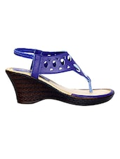 Blue Cut-work Detailed Faux Leather Wedges - By
