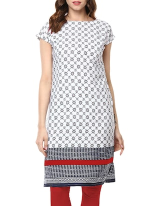 white poly crepe printed straight kurta