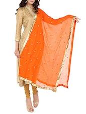 Orange Chiffon Embroidered Dupatta - By