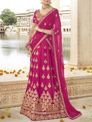 pink art silk embroidered panelled lehenga
