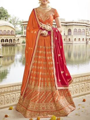 orange art silk embroidered flared lehenga