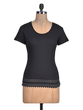 Solid Black Cotton Top With Lace Hem - By