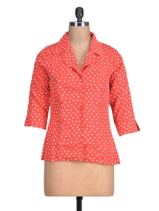 Coral Red Heart Printed Polyester Shirt