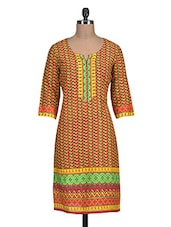 Red And Yellow Printed Cotton Kurta - By