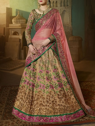 beige embroidered panelled lehenga