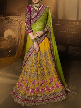yellow embroidered lehenga