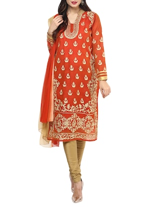 orange chanderi embroidered stitched churidaar suit