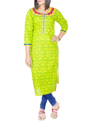 green cotton embroidered straight kurta