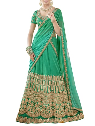 green art silk embroidered panelled lehenga