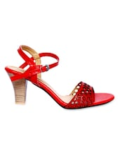 Red Cutwork Faux Leather Block Heel Sandals - By