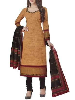 brown  unstitched churidaar suit