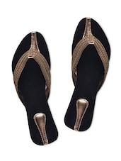 Black Faux Leather Embellished Slip-on - By - 1331398