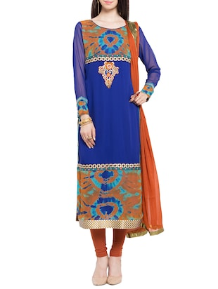blue georgette embroidered stitched suit