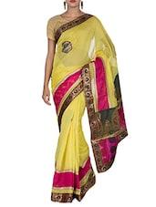 Yellow Cotton And Art Silk Brocade Patch Worked Banarasi Saree - By