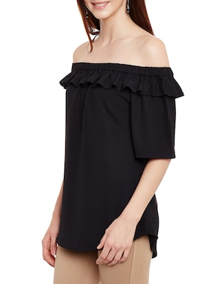 ruffled off shoulder top - 13331418 - Standard Image - 2