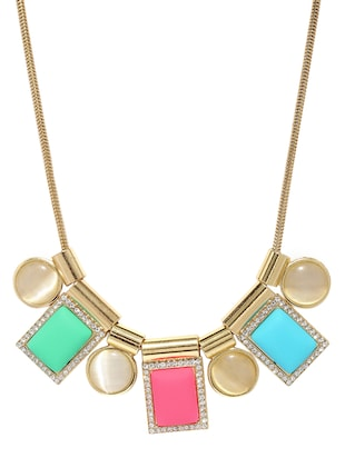 multi colored metal short necklace