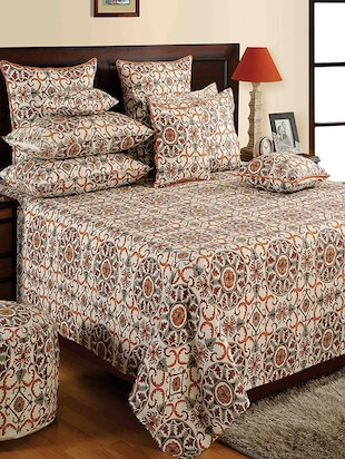 Saavra Brown Colour Cotton Double Bed Sheet With 2 Pillow Covers