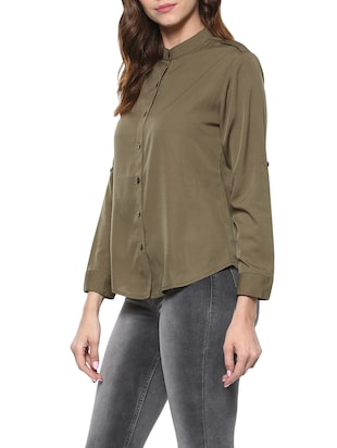 9787b46ce75 Buy Noor X Mayra Olive Cotton Regular Shirt for Women from Mayra for ₹727  at 27% off | 2019 Limeroad.com