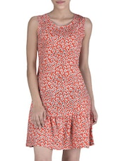 Red Poly Crepe Floral Printed Drop Waist Dress - By