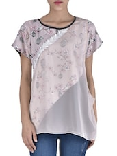 Beige Poly Crepe Printed Layered Top - By