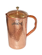 AsiaCraft Pure Copper Hammered Jug with Lid -  online shopping for Bottles & Jugs