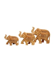 Indian Wooden Hand Carved Elephant Set Handmade Gift Item For Home Decor Pink City Showpiece - By