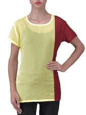 Yellow And Maroon Color Blocked Georgette Top - By
