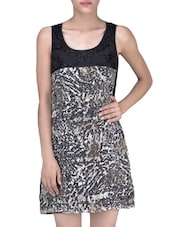 Black American Crepe And Polyester Printed And Embroidered Dress - By