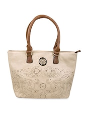 Beige Laser Cut-out Faux Leather Tote - By
