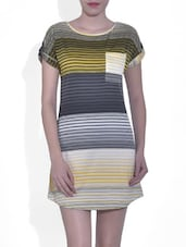 Printed Multicolor Polyester And Lycra Shift Dress - By