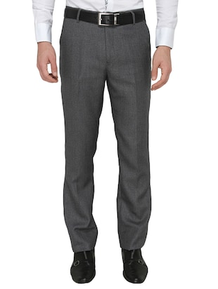 grey polyester flat front trousers formal trouser -  online shopping for Formal Trousers