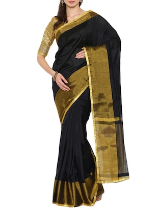 black art silk handloom saree
