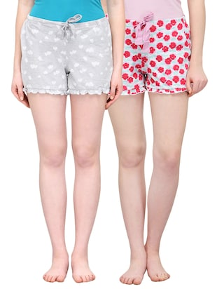 set of 2 multicolored printed cotton regular shorts -  online shopping for Shorts