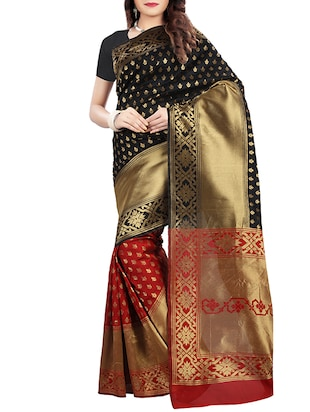 black art silk banarasi saree with blouse