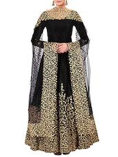 black satin embroidered anarkali semi-stitched suit -  online shopping for Semi-Stitched Suits