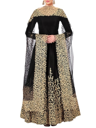 black satin embroidered anarkali semi-stitched suit