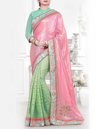 pink & green silk embroidered half and half saree